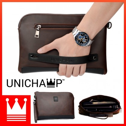 [Unichamp] MC381 Man Classic Brown Leather Stylish Cool Clutch Bag Large Wallet MWB