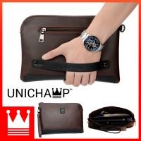 [Unichamp] MC381 Man Classic Brown Leather Stylish Cool Clutch Bag Large Wallet LB3