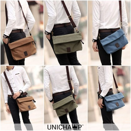 [Unichamp] MC410 Man Stylish Plain Design Canvas Sling Bag Beg Lelaki Men Crossbody MSB