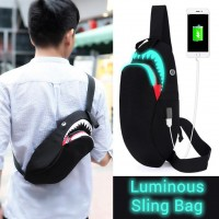 Man S/S Perfect Shark Cool Design Quality Black Backpack Chest Pouch Sling Bag MC432 LB2