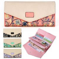 Woman Ethic Vintage Floral Exquisite Leather Design Long Purse MC421 RH2