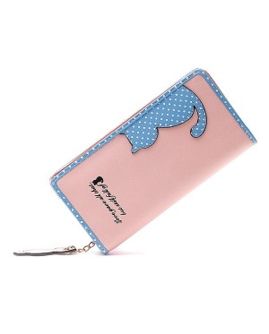 Woman Cute Cat Leather Polka Dots Design Long Delicate Purse mc423 A2