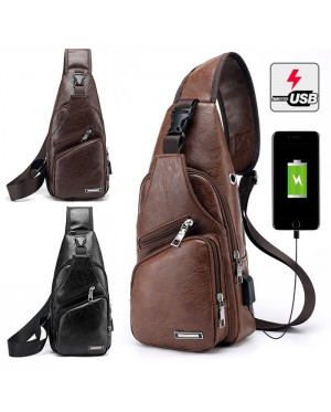 Man Classic Leather Stylish USB Chest Pouch Shoulder Sling Bag Extra Compartments MC426 YA2