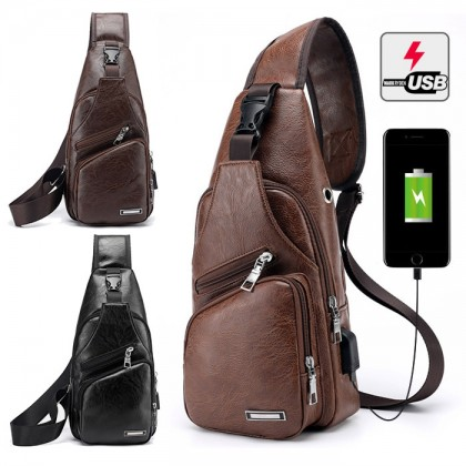 Man Classic Leather Stylish USB Chest Pouch Shoulder Sling Bag Extra Compartments MC426 LA1
