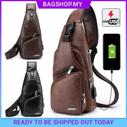 Man Classic Leather Stylish USB Chest Pouch Shoulder Sling Bag Extra Compartments MC426