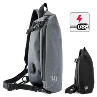Man Stylish Large USB Port Chest Pouch Shoulder Sling Bag mc427 LA3