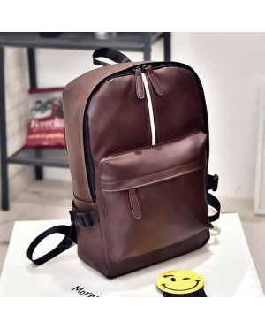 Unisex Stylish Strip PU Leather Daily Casual Backpack MC415 YB2