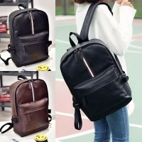 Unisex Stylish Strip PU Leather Daily Casual Backpack MC415 YB1