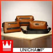 Man Stylish Classic Brown Leather Sling Bag / Clutch Hand Carry Bag MC450 LC5
