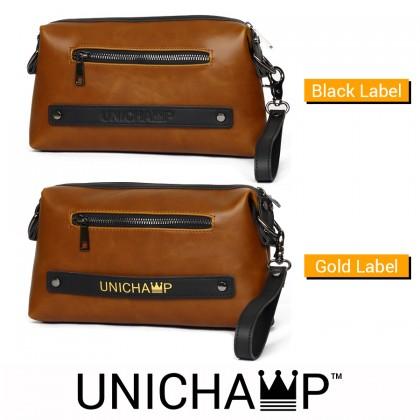 [Unichamp] MC450 Man Stylish Classic Brown Leather Sling Bag / Clutch Hand Carry Bag