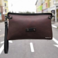 Man Coffee Leather Three Compartments Clutch Hand Carry Bag MC451 A7
