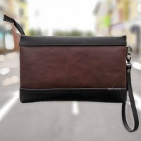 Man Hand Carry Clutch Bag Dark / Beg Tagan Kulit PU Coffee MC452 F3