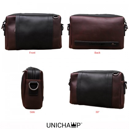 [Unichamp] MC453 Man Leather Box Sling Bag Lelaki Clutch Tangan Men Beg MSB