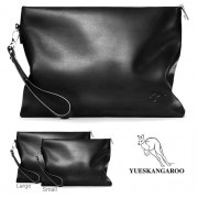 [Authenthic] Kangaroo Black Leather Plain Design Man Clutch Bag Hand Carry Beg MC490 YG2