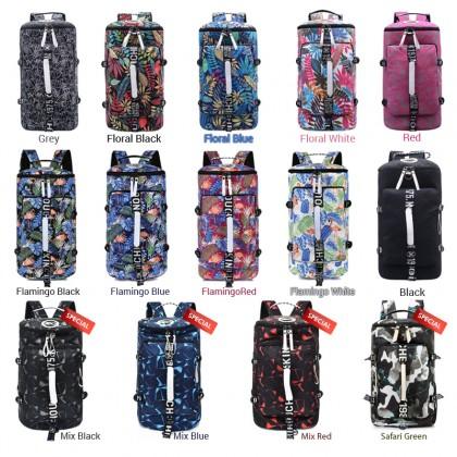 Unisex Tropical Forest Floral/Flamingo Colorful Weekender Duffel Barrel Backpack MC457