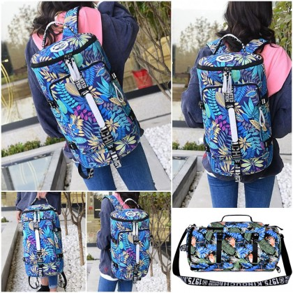 Unisex Tropical Forest Floral/Flamingo Colorful Weekender Duffel Barrel Backpack MC457 RH8/RE7
