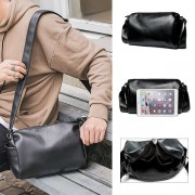 Man Plain Black Barrel Design Leather Sling Bag MC489 RD6