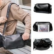 Man Plain Black Barrel Design Leather Sling Bag MC489 YG1