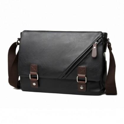 MC486 Man Black Leather Stylish MEssenger Bag