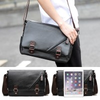 Man Black Leather Stylish MEssenger Bag MC486 RC1