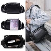 Man Zipper Style Stylish Black Leather Shoulder Sling Bag MC480 YF2
