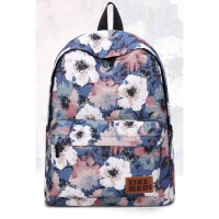 Girl Blue Floral Quality Canvas Backpack MC471 YE1