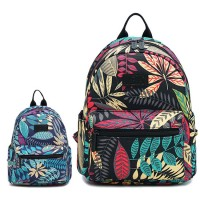 Girl Tropical Forest Floral Canvas Colorful Small Casual Backpack MC469 YE1