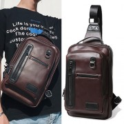 Man Crossbody Leather Chest Pouch Bag Beg Lelaki MC476 YG1