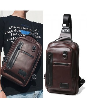 Man Crossbody Leather Chest Pouch Bag Beg Lelaki MC476 YT2*