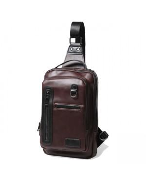 Man Crossbody Leather Chest Pouch Bag Beg Lelaki MC476 YG1