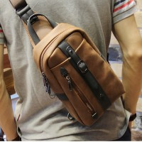 Man Classic Brown Leather Daily Crossbody Bag Chest Pouch Beg mc484 RC1