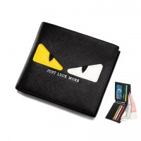 Monster Eye Black Leather Slim Wallet Dompet Lelaki MC487 YF1