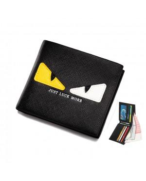 Monster Eye Black Leather Slim Wallet Dompet Lelaki MC487 RH3