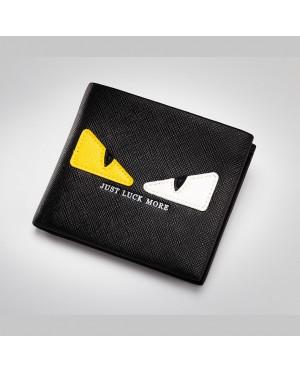 Monster Eye Black Leather Slim Wallet Dompet Lelaki MC487 YF1