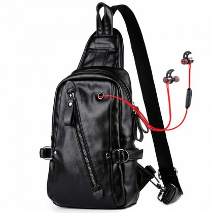 MC482 Man Charcoal Black Leather Chest Pouch Bag Crossbody Mewah Lelaki