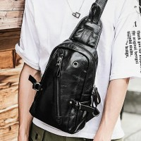 Man Charcoal Black Leather Chest Pouch Bag Crossbody Mewah Lelaki mc482 YG1