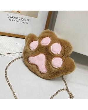 Girl Cute Cat Paw Smooth Fur Sling Bag MC491 YY