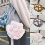 Girl Cute Cat Paw Smooth Fur Sling Bag MC491 YY