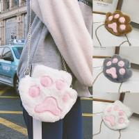 Girl Cute Cat Paw Smooth Fur Sling Bag MC491 YA2