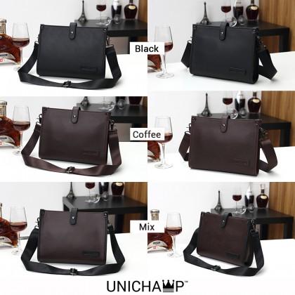 [Unichamp] MC449 Man 2 Ways Carrying Leather Sling / Clutch Bag Beg Lelaki Tangan