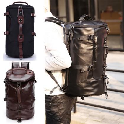 Barrel Korean Stylish 3 Ways Carrying Leather Weekender Backpack MC474 & 1028 RH7/RB7