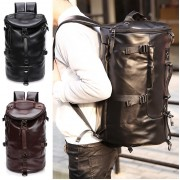 Barrel Korean Stylish 3 Ways Carrying Leather Weekender Backpack MC474 RH7