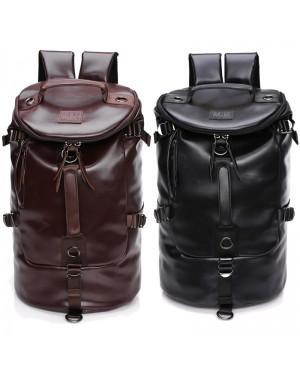 Barrel Korean Stylish 3 Ways Carrying Leather Weekender Backpack MC474 YT1