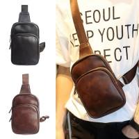 Man Slim Thin Version Leather Chest Pouch Bag Men Beg Nipis mc472 YF1