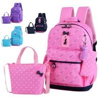 Kids Girl Plain Color Design Primary School Backpack Cushion Padded Bag MC436 YF2