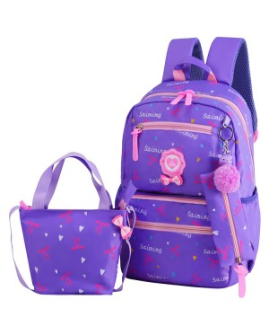 Kids Girl Fancy Ribbon Single Color Cushion Padded Primary School Bag Student Beg MC437 YF2