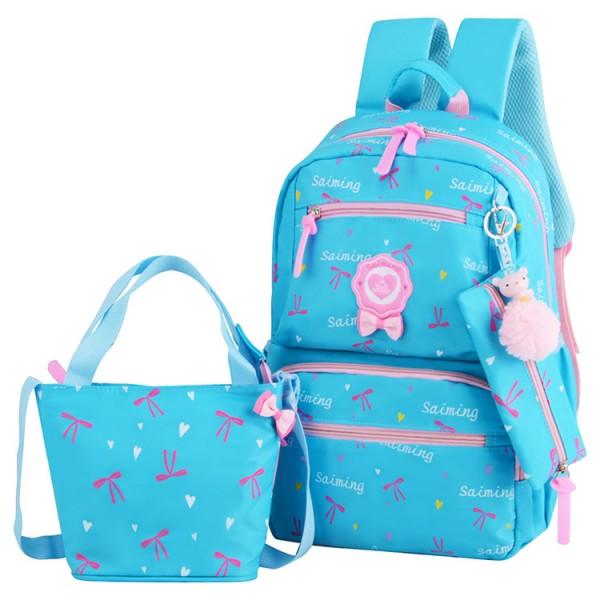9bd8264e85 Kids Girl Fancy Ribbon Single Color Cushion Padded Primary School Bag  Student Beg MC437 RF1