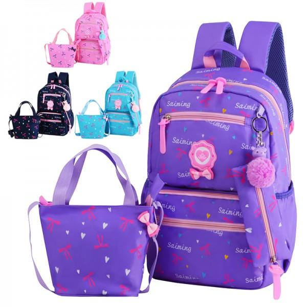 Kids Girl Fancy Ribbon Single Color Cushion Padded Primary School Bag  Student Beg MC437 RF1