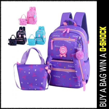 MC437 Kids Girl Fancy Ribbon Single Color Cushion Padded Primary School Bag Student Beg