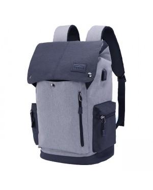 Unisex Urban Grey / Black USB Bag College Office Laptop Backpack mc468 YC1